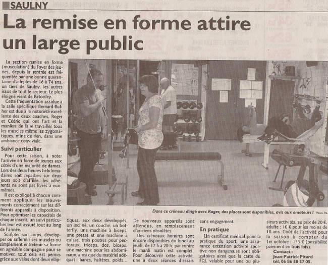 Dans la presse foyer des jeunes de saulny for Remise en forme